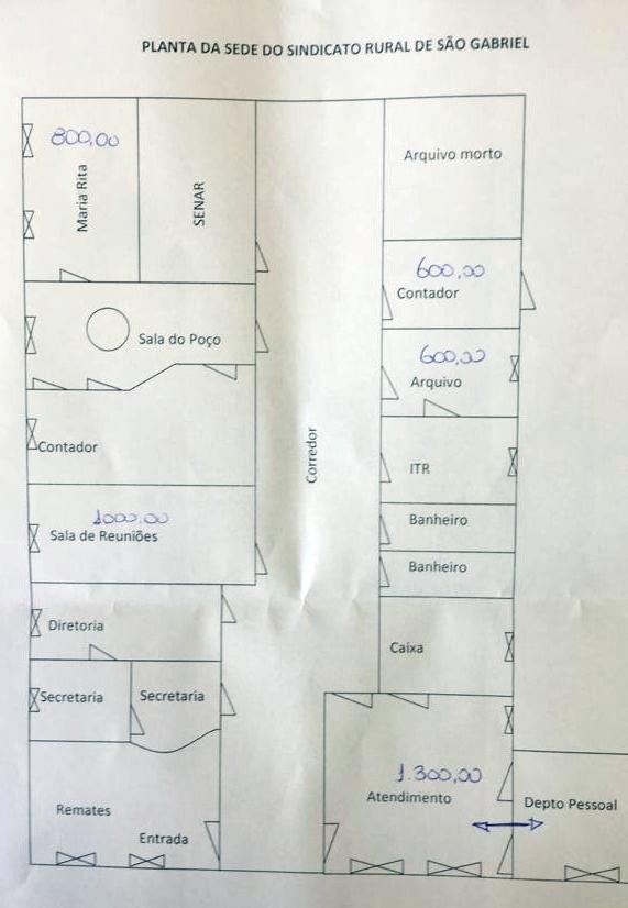 Salas comerciais para locação no Sindicato Rural de São Gabriel